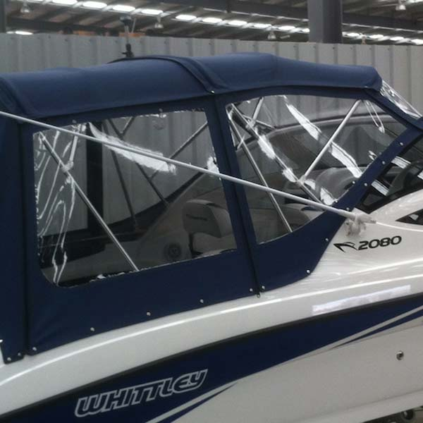 BLUE CANOPY WITH WHITE PIPING