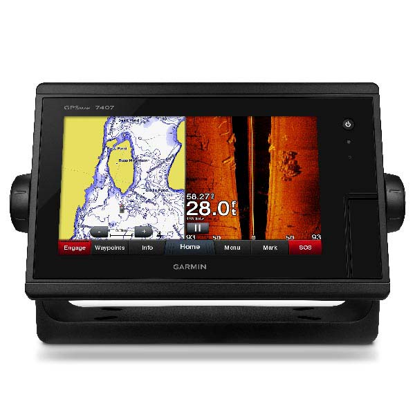Garmin 7412 Chirp 12 Inch Touch, Regional G2 Vision Chart, B150 M Bronze Thru Hull 20 Degree Chirp Transducer & Volvo Easy Connect (Independent Mechanical Trim & Fuel Gauge)